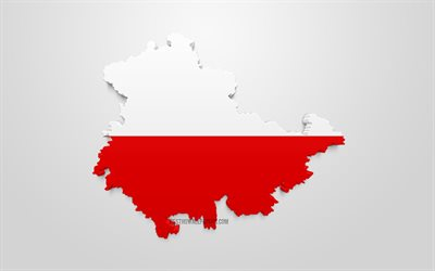 Thuringia map silhouette, 3d flag of Thuringia, federal state of Germany, 3d art, Thuringia 3d flag, Germany, Europe, Thuringia, geography, States of Germany