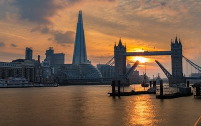 London, Tower Bridge, The Shard, evening, sunset, skyscrapers, Thames River, England, London cityscape