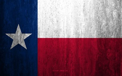 Flag of Texas, 4k, stone background, American state, grunge flag, Texas flag, USA, grunge art, Texas, flags of US states