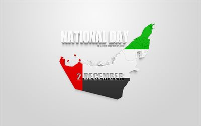 UAE National Day, 2 December, United Arab Emirates, UAE map silhouette, 3d flag of UAE, creative 3D art, greeting card, national holidays of the UAE