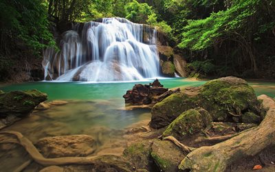 beautiful waterfall, turquoise lake, rainforest, jungle, waterfalls, Thailand