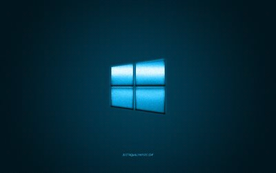 Windows 10 logo, blue shiny logo, Windows 10 metal emblem, wallpaper for Windows devices, blue carbon fiber texture, Windows, brands, creative art