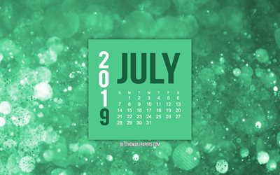 2019 July calendar, turquoise creative background, 2019 calendars, July, 2019 concepts, turquoise 2019 July calendar