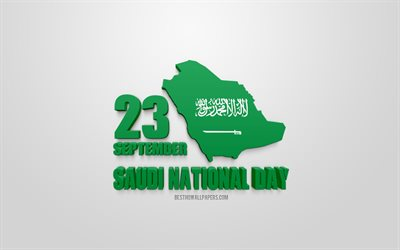 Saudi National Day, 23 September, 3d art, National Day of Saudi Arabia, Saudi Arabia map silhouette, 3d flag of Saudi Arabia, White background