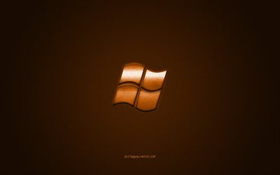 Windows logo, bronze shiny logo, Windows metal emblem, wallpaper for Windows devices, bronze carbon fiber texture, Windows, brands, creative art