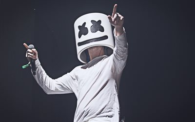 DJ Marshmello on stage, 2019, 4k, night party, Christopher Comstock, concert, nightclub, Marshmello on stage, DJ Marshmello, superstars, Marshmello, DJs