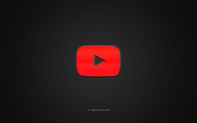 YouTube logo, red shiny logo, YouTube metal emblem, gray carbon fiber texture, YouTube, brands, creative art