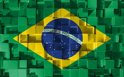 Flag of Brazil, 3d flag, 3d cubes texture, Flags of South America countries, 3d art, Brazil, South America, Brazilian flag, 3d texture, Brazil flag
