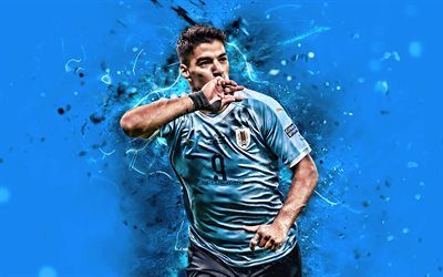 Luis Suarez, 2019, Uruguay National Team, blue background, abstract art, Luis Alberto Suarez Diaz, soccer, footballers, neon lights, Uruguayan football team