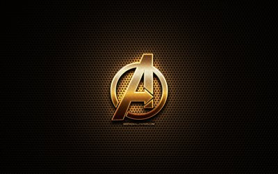 Avengers glitter logo, creative, metal grid background, Avengers logo, brands, Avengers