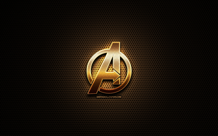 thumb2 avengers glitter logo creative metal grid background avengers logo brands