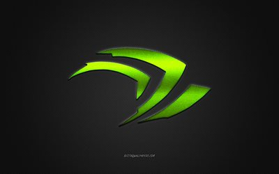 Nvidia logo, green shiny logo, Nvidia metal emblem, wallpaper for Nvidia devices, gray carbon fiber texture, Nvidia, brands, creative art