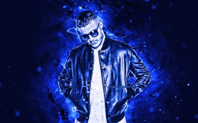 DJ Snake, 4k, blue neon lights, french DJ, fan art, William Sami Etienne Grigahcine, DJ Snake 4K, artwork, superstars, creative, DJs