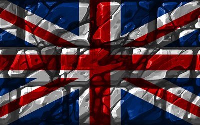 United Kingdom flag, brickwall, 4k, European countries, national symbols, Flag of United Kingdom, creative, United Kingdom, Union Jack, Europe, United Kingdom 3D flag