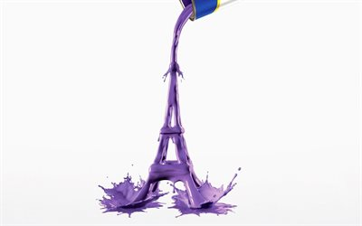 Eiffel Tower, purple paint, symbol of Paris, France, Eiffel Tower 3D model, Eiffel Tower made of paint