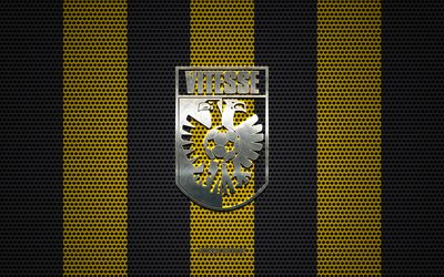 SBV Vitesse logo, Dutch football club, metal emblem, yellow-black metal mesh background, SBV Vitesse, Eredivisie, Arnhem, Netherlands, football
