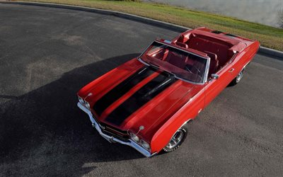 1970, Chevrolet Chevelle SS, red convertible, exterior, retro cars, red Chevelle, SS454, american cars, Chevrolet
