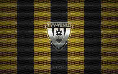 VVV Venlo logo, Dutch football club, metal emblem, yellow-black metal mesh background, VVV Venlo, Eredivisie, Venlo, Netherlands, football