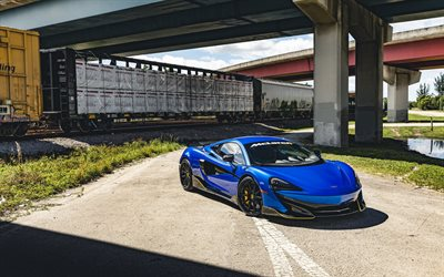 2020, McLaren 600LT, exterior, blue sports coupe, tuning 600LT, blue 600LT, supercar, British sports cars, McLaren