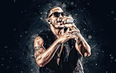 Trey Songz, concert, 4K, white neon lights, american singer, music stars, Tremaine Aldon Neverson, Trey Songz with microphone, american celebrity, superstars, Trey Songz 4K