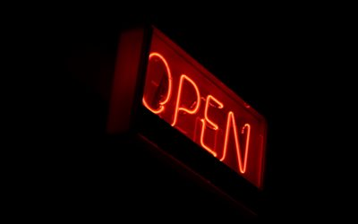 Sign Open, red neon sign, black background, open concepts, Light sign open