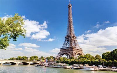 Eiffel Tower, Paris, summer, morning, symbol of Paris, landmark, Paris cityscape, France