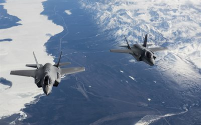 Lockheed Martin F-35 Lightning II, F-35A, fighter-bombers, US Air Force, fighters in the sky, pair of American fighters, USA
