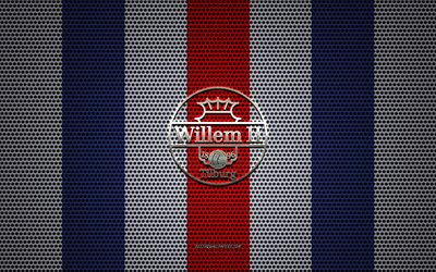 Willem II logo, Dutch football club, metal emblem, blue and white metal mesh background, Willem II, Eredivisie, Tilburg, Netherlands, football