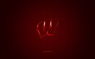 Wisconsin Badgers logo, American football club, NCAA, red logo, red carbon fiber background, American football, Madison, Wisconsin, USA, Wisconsin Badgers