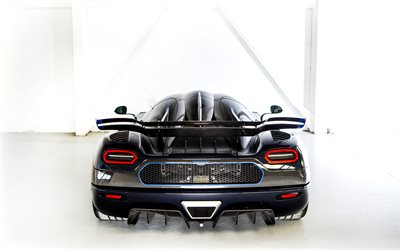 Koenigsegg Agera One 1, rear view, exterior, hypercar, dark blue Agera, luxury sports cars, Koenigsegg