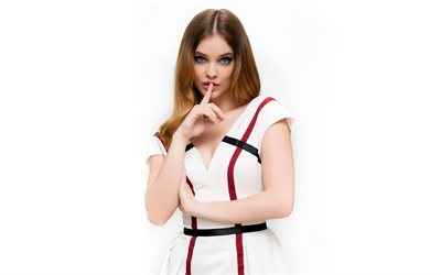 Barbara Palvin, Hungarian supermodel, portrait, photoshoot, white dress, beautiful woman