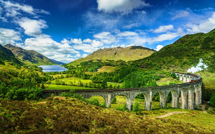 Glenfinnan Viaduct, 4k, summer, West Highland Line, Glenfinnan, Scotland, viaduct, Great Britain, beautiful nature