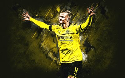 Erling Braut Haaland, BVB, Borussia Dortmund, Erling Haaland, Norwegian footballer, portrait, yellow stone background, creative art, football, Germany, Bundesliga