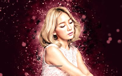 Taeyeon, 4k, K-pop, south korean singer, Girls Generation, purple neon lights, Kim Tae-yeon, South Korean celebrity, asian woman, beauty, Taeyeon 4K