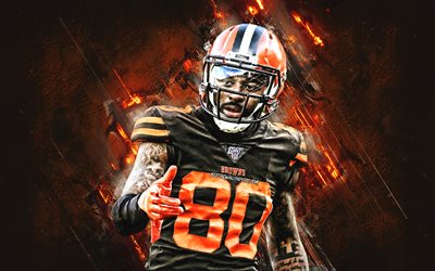 Jarvis Landry, Cleveland Browns, NFL, american football, portrait, orange stone background, National Football League