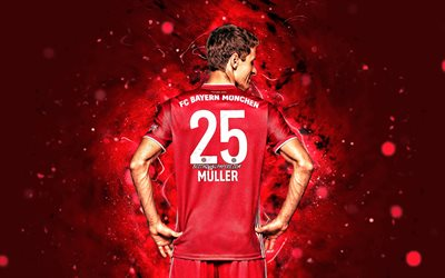 Thomas Muller, 4k, back view, Bayern Munich FC, german footballers, Bundesliga, red neon lights, soccer, Germany, Thomas Muller Bayern Munich, Thomas Muller 4K