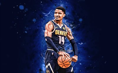 Gary Harris, 4k, 2020, Denver Nuggets, NBA, koripallo, USA, Gary Harris Denver Nuggets, blue neon valot, luova, Gary Harris 4K