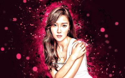 Jessica, 4k, american singer, music stars, creative, purple neon lights, american celebrity, Jessica Jung, superstars, beauty, Jessica 4K