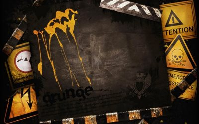 grunge frames, creative, warning signs frame, grunge backgrounds, artwork, warning signs