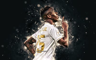 Vinicius Junior, 4k, 2020, Real Madrid-FC, brasiliansk fotbollsspelare, Ligan, Spanien, Han var också en kompositör, Jose Paixao de Oliveira Junior, neon lights, fotboll, Real Madrid-CF, LaLiga, Vinicius Junior 4K