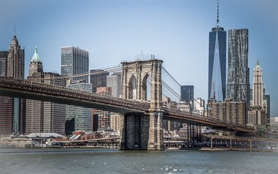Brooklyn, New York, Manhattan, Brooklyn Bridge, World Trade Center 1, skyscrapers, cityscape, USA, One WTC
