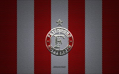 Feyenoord logo, Dutch football club, metal emblem, red and white metal mesh background, Feyenoord, Eredivisie, Rotterdam, Netherlands, football, Feyenoord Rotterdam