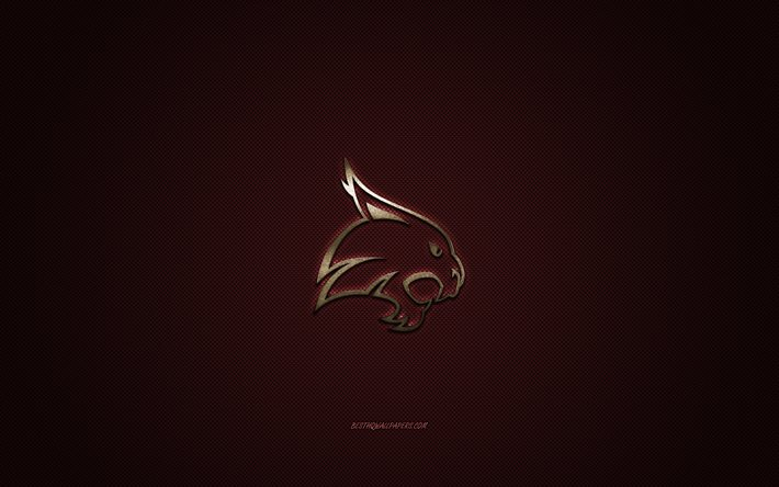 Texas State Bobcats logo, American football club, NCAA, golden logo, burgundy carbon fiber background, American football, San Marcos, Texas, USA, Texas State Bobcats