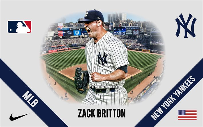 Zack Britton, New York Yankees, American Baseball Player, MLB, portrait, USA, baseball, Yankee Stadium, New York Yankees logo, Major League Baseball, Zackary Grant Britton