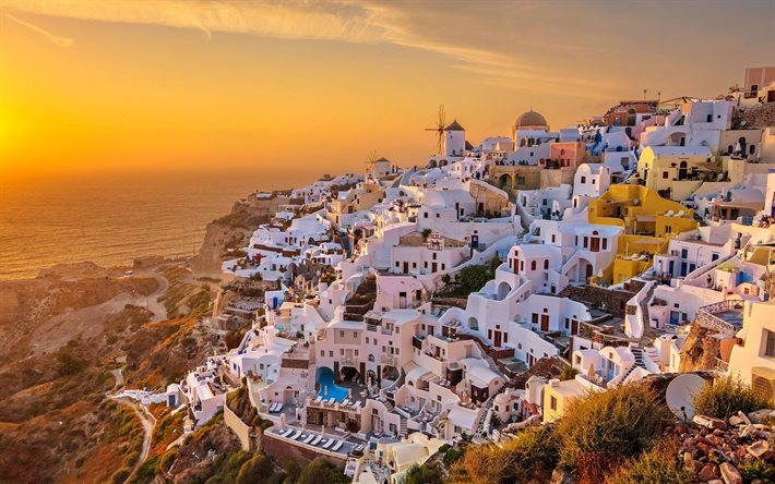 Santorini, Oia, Thira, seascape, Aegean, Santorini cityscape, Greece, sea, sunset, evening