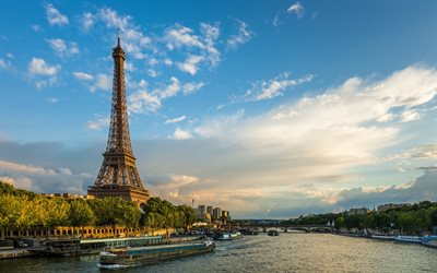 Paris, Eiffel Tower, Seine River, evening, sunset, landmark, cityscape, France