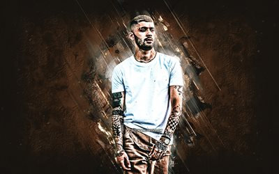 Zayn Malik, british singer, portrait, brown stone background, creative art, Zayn Javadd Malik