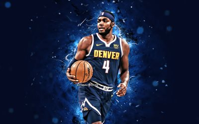 Paul Millsap, 4k, 2020, Denver Nuggets, NBA, basketbol, ABD, Paul Millsap Denver Nuggets, mavi neon ışıkları, yaratıcı, Paul Millsap 4K