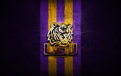 LSU Tigers, golden logo, NCAA, violet metal background, american football club, LSU Tigers logo, american football, USA