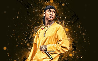 Tyga, 2020, 4k, yellow neon lights, american rapper, music stars, creative, Tyga with microphone, Michael Ray Nguyen-Stevenson, american celebrity, Tyga 4K